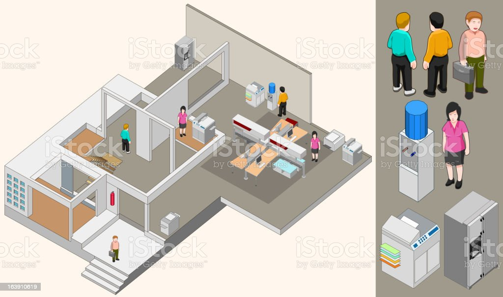isometric of office room and business people royalty-free stock vector art