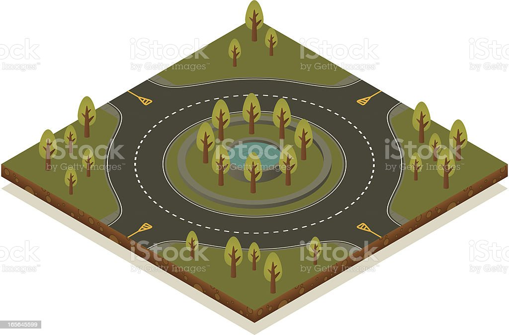 Isometric road toolkit - Roundabout vector art illustration
