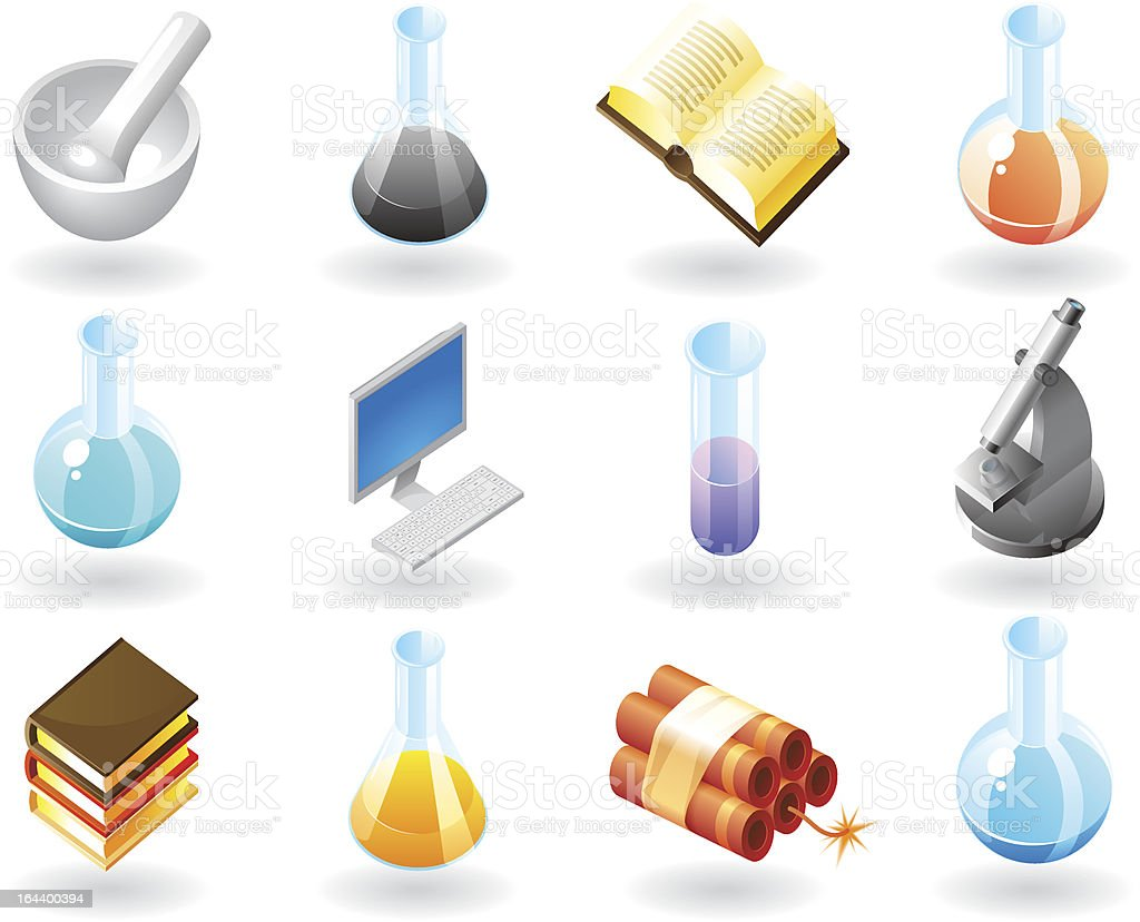 Isometric-style icons for science royalty-free stock vector art