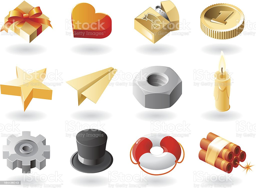 Isometric-style icons royalty-free stock vector art