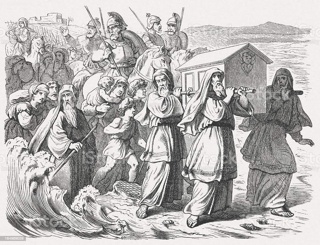 Israel crossed the Jordan (Joshua 4), wood engraving, published 1877 royalty-free stock vector art