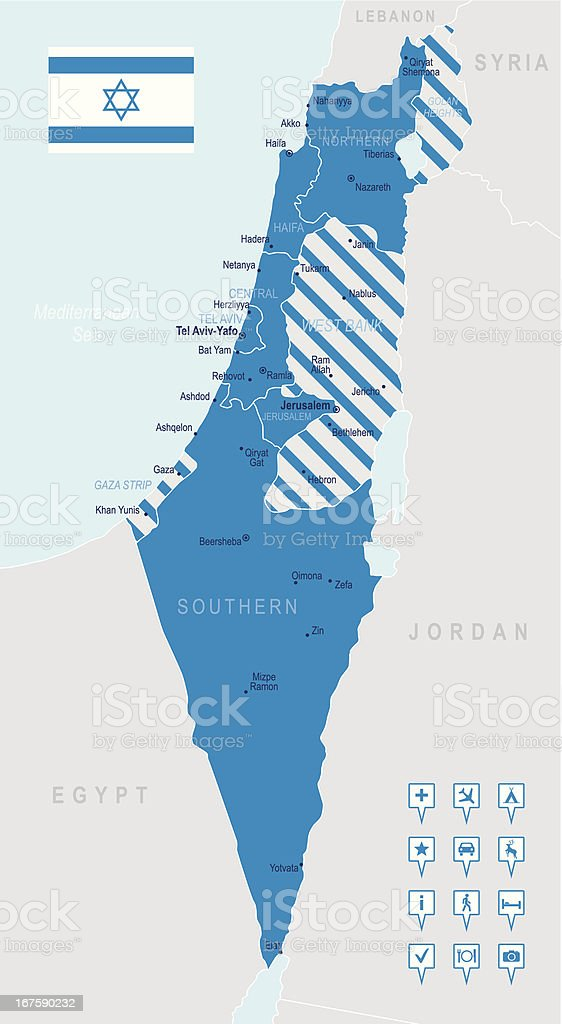 Israel - highly detailed map vector art illustration