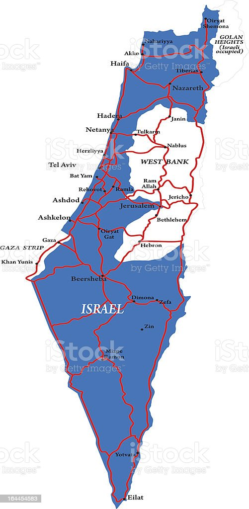 Israel map isolated vector art illustration