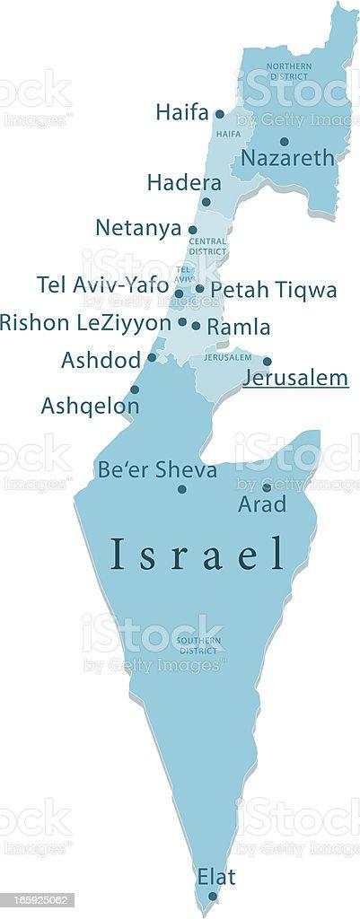 Israel Vector Map Regions Isolated vector art illustration