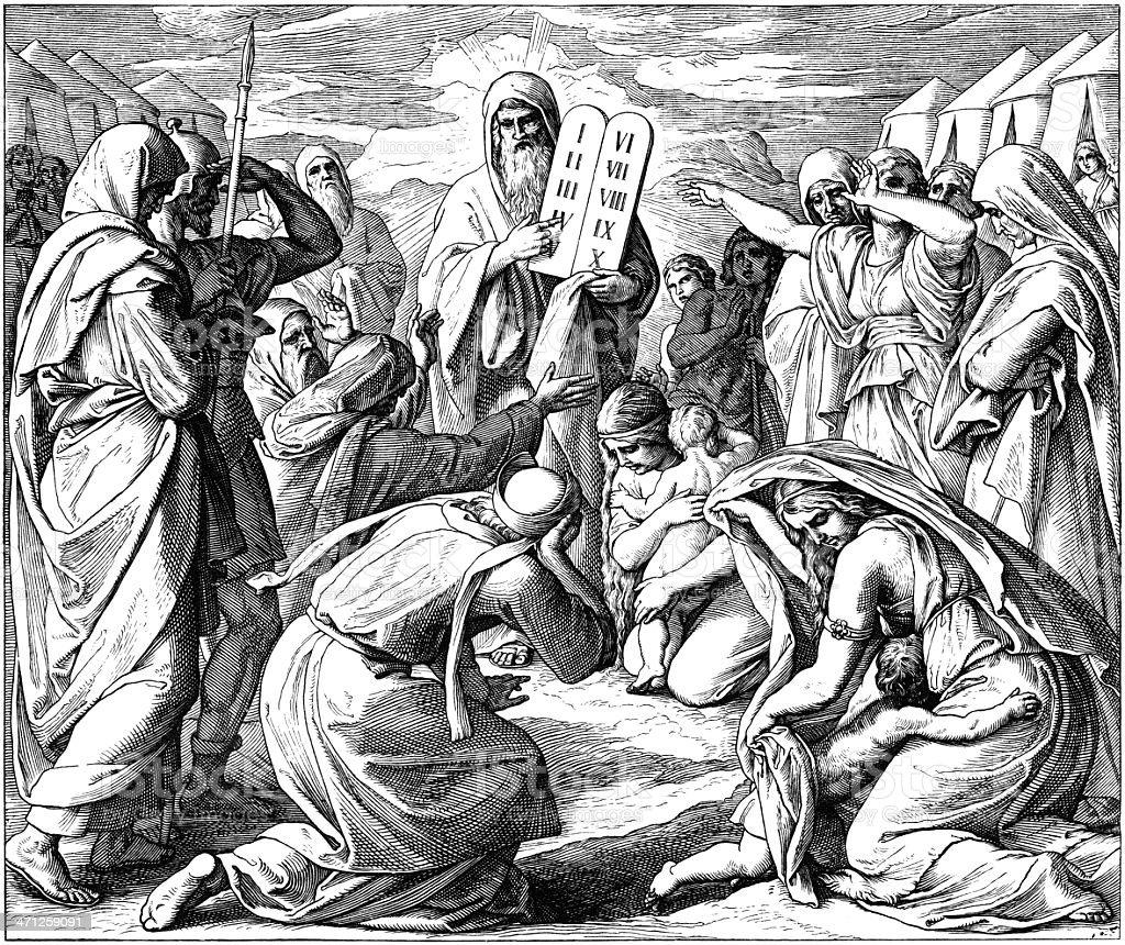 Israelites and 10 Commandments vector art illustration
