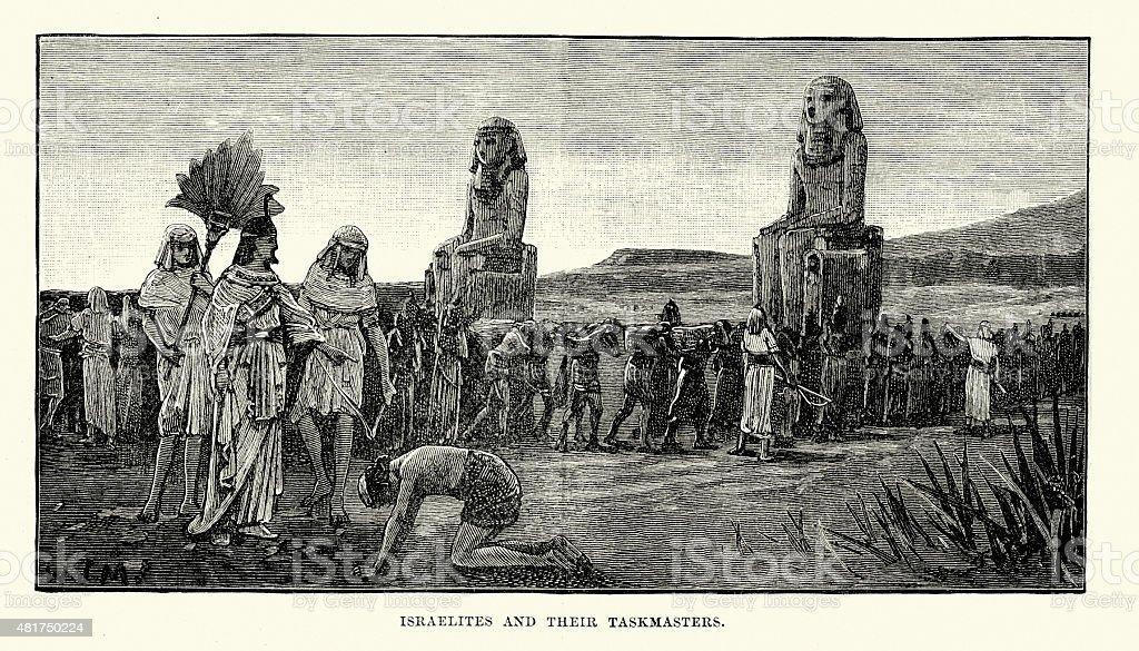Israelites and their Taskmasters vector art illustration