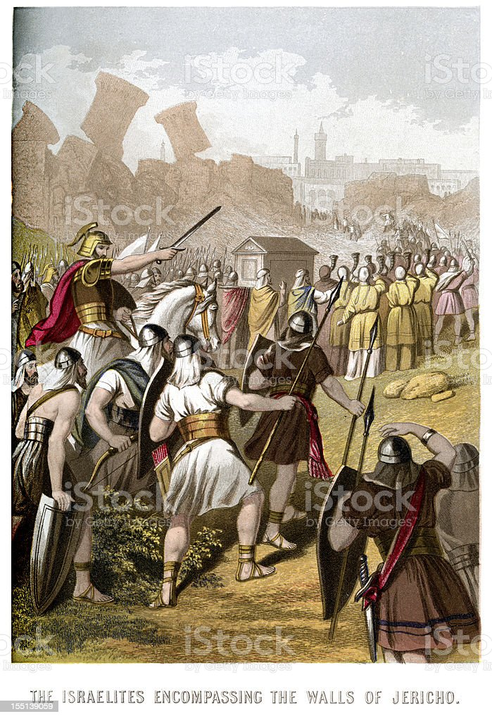 Israelites attacking the Walls of Jericho royalty-free stock vector art