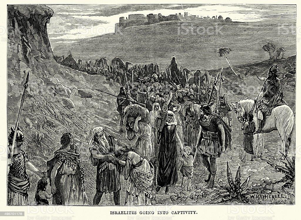 Israelites going into captivity vector art illustration