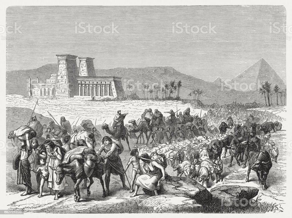 Israel's Exodus from Egypt, wood engraving, published in 1880 vector art illustration