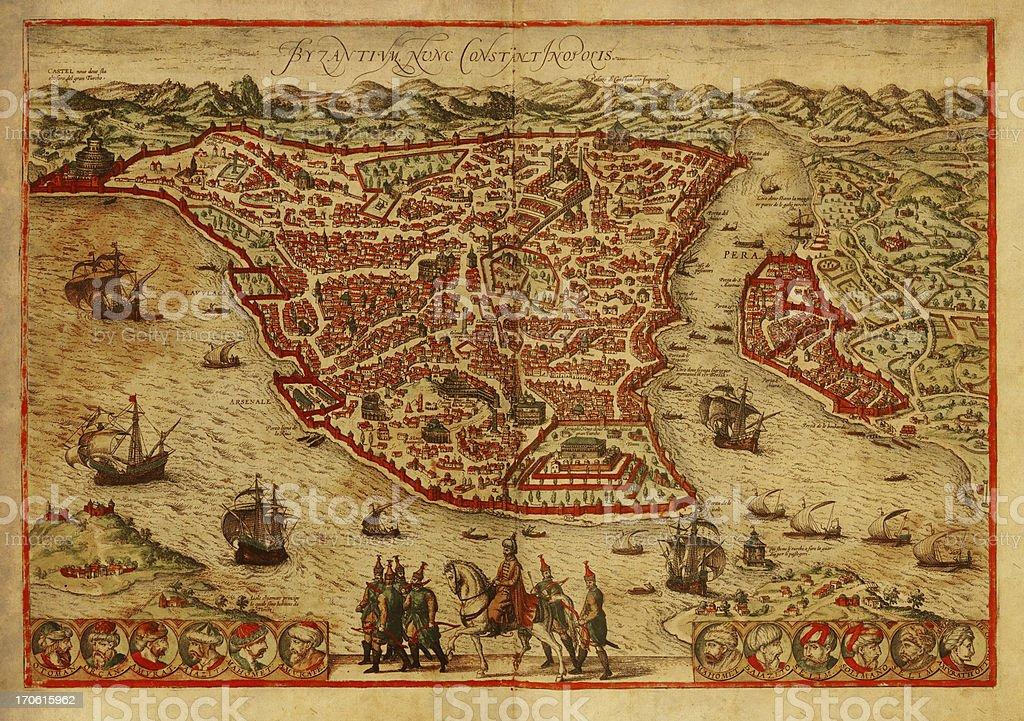 Istanbul Old Map vector art illustration