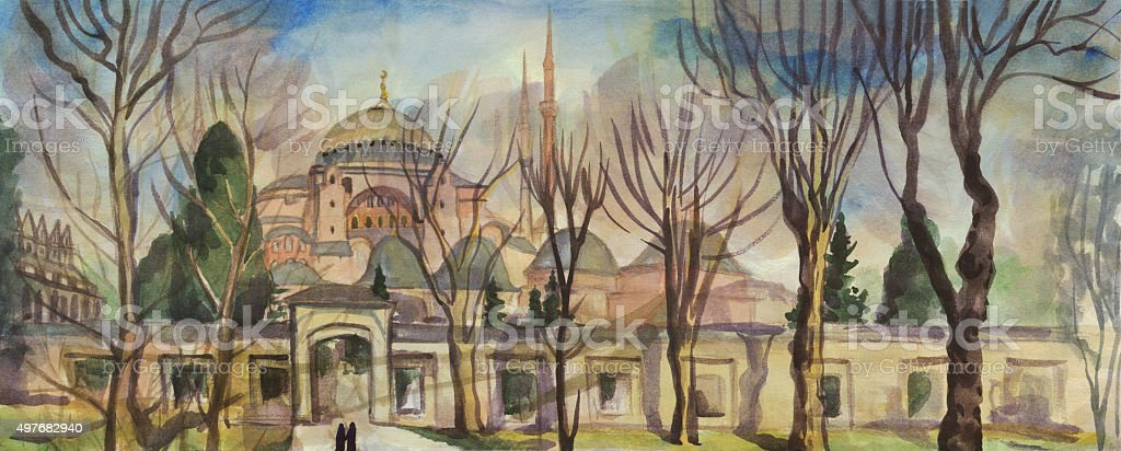 Istanbul. The Hagia Sophia. Watercolor painting vector art illustration