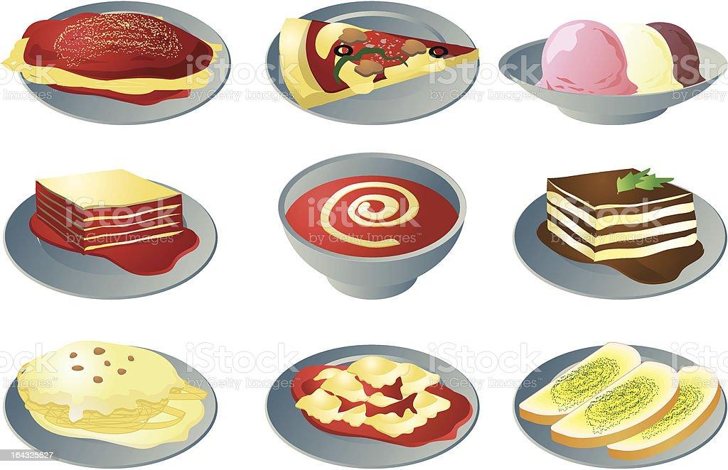 Italian cuisine icons royalty-free stock vector art