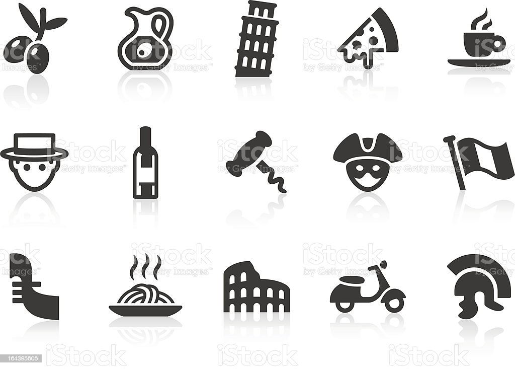 Italian Culture icons royalty-free stock vector art