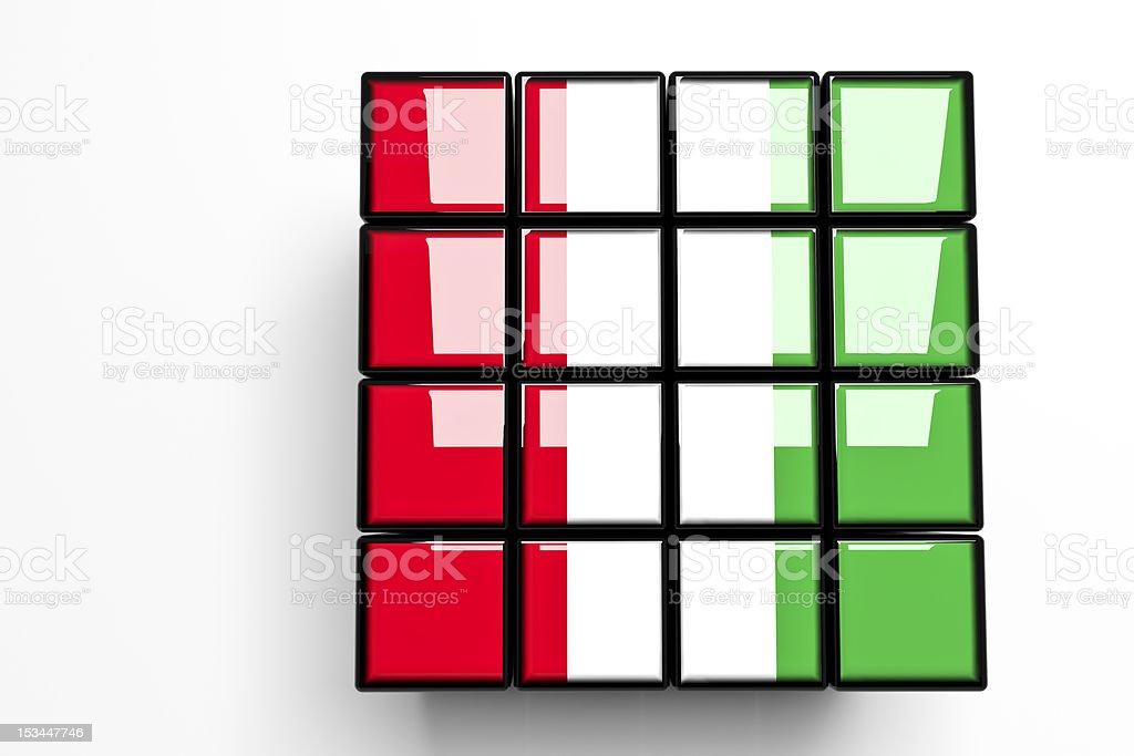 Italian Flag on 4x4 Blocks, White Background, Copy Space (XXXL) vector art illustration