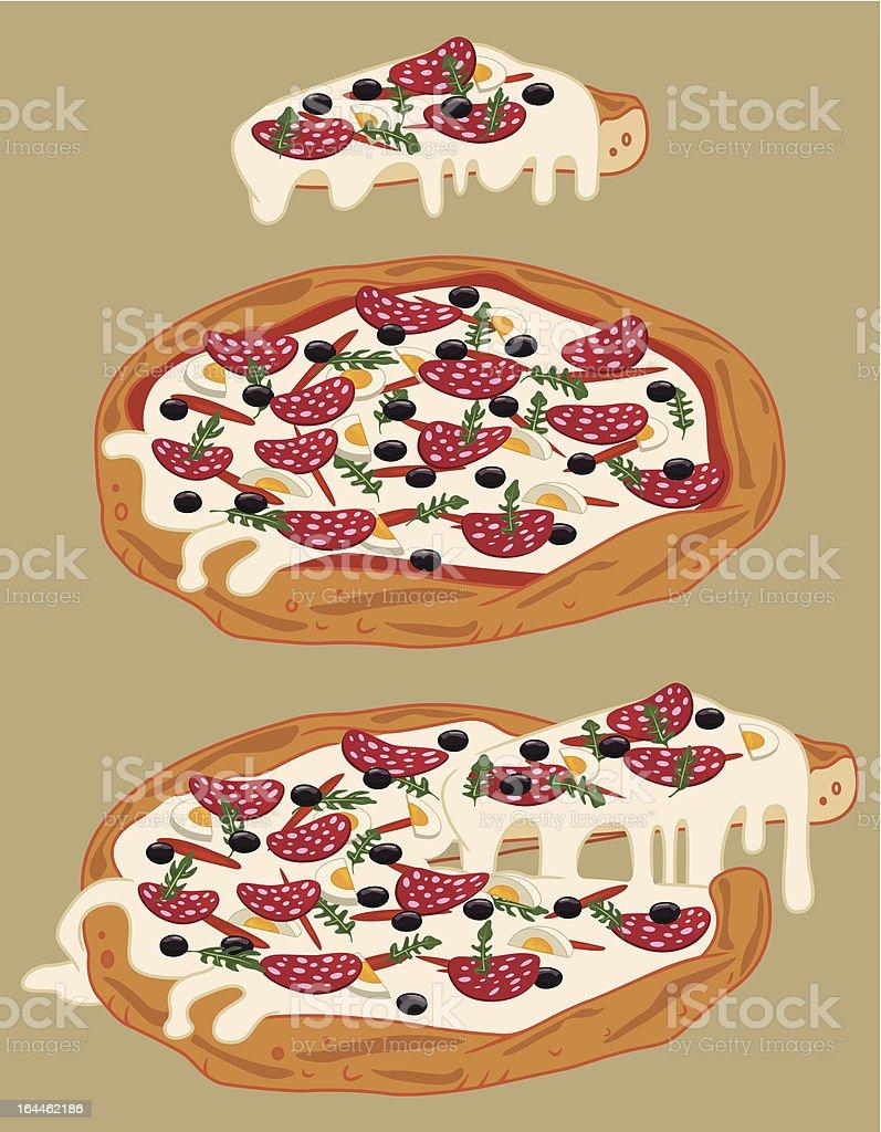 Italian handmade pizza 3 vector art illustration