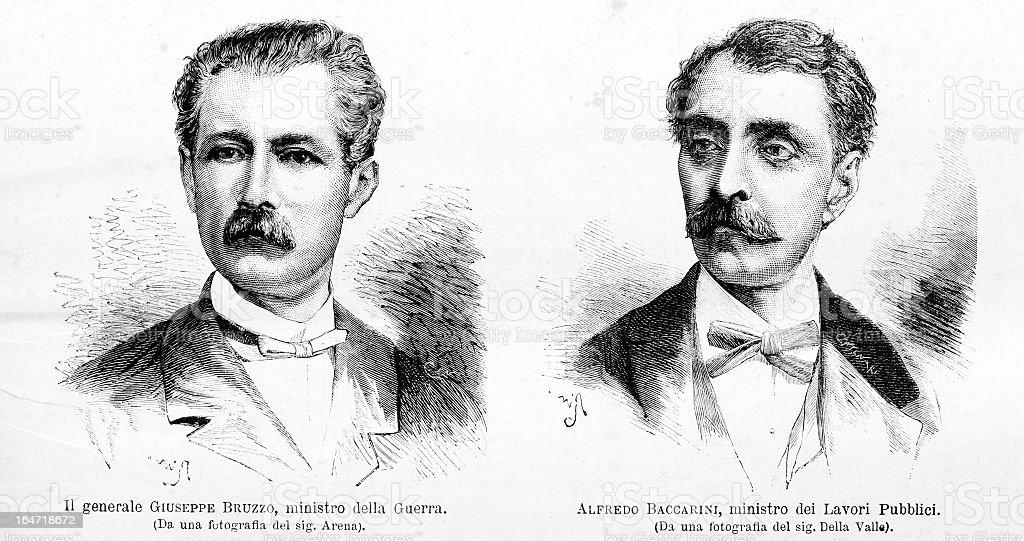 Italian ministers Bruzzo and Baccarini royalty-free stock vector art