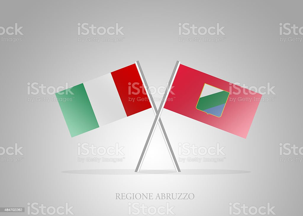 Italian States - Italia Regione Abruzzo Mini Flag Series vector art illustration
