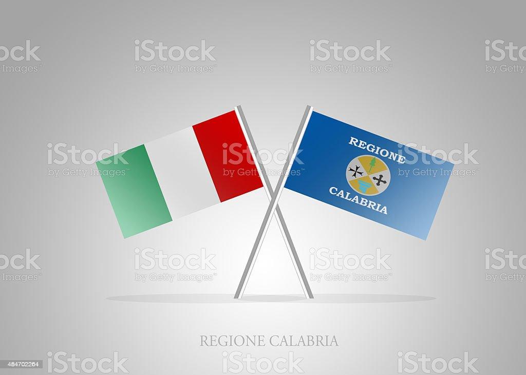 Italian States - Italia Regione Calabria Mini Flag Series vector art illustration