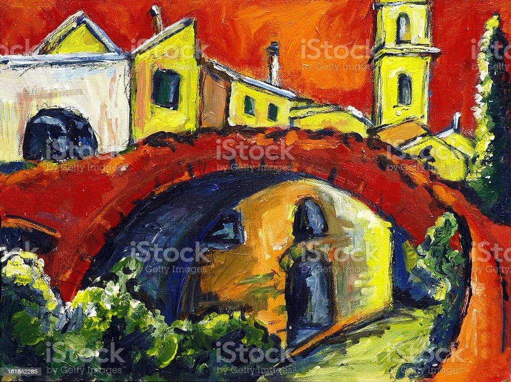 Italian village vector art illustration