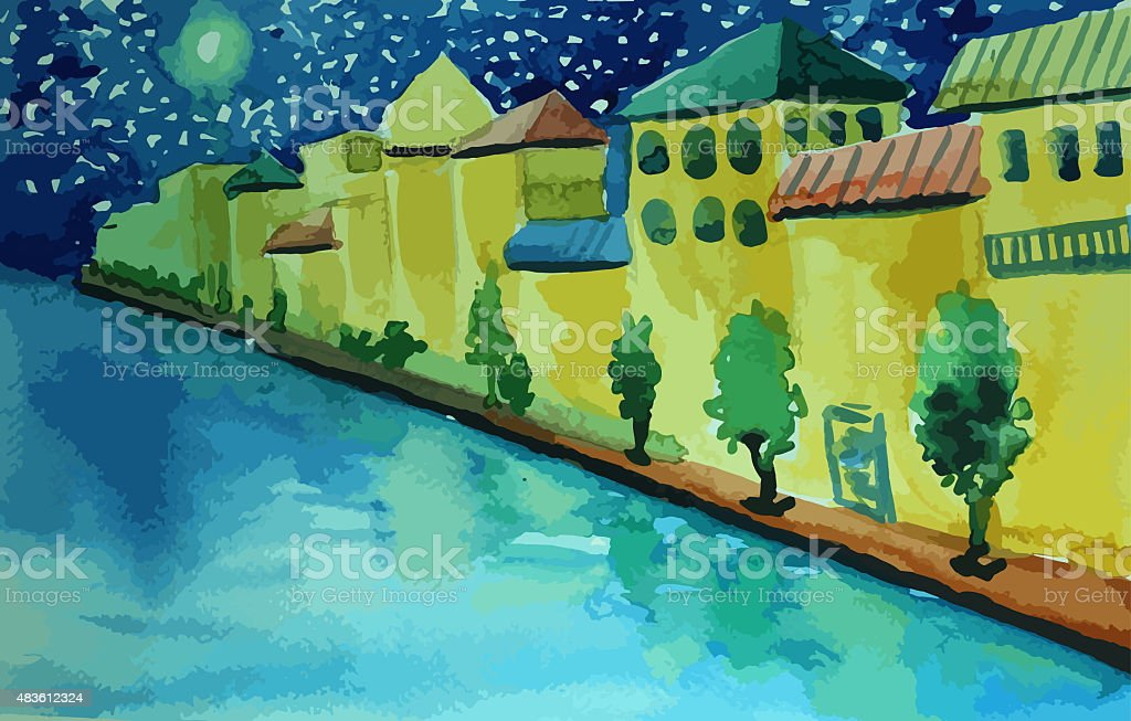 Italian-style houses on the river with beatiful moon painting vector art illustration