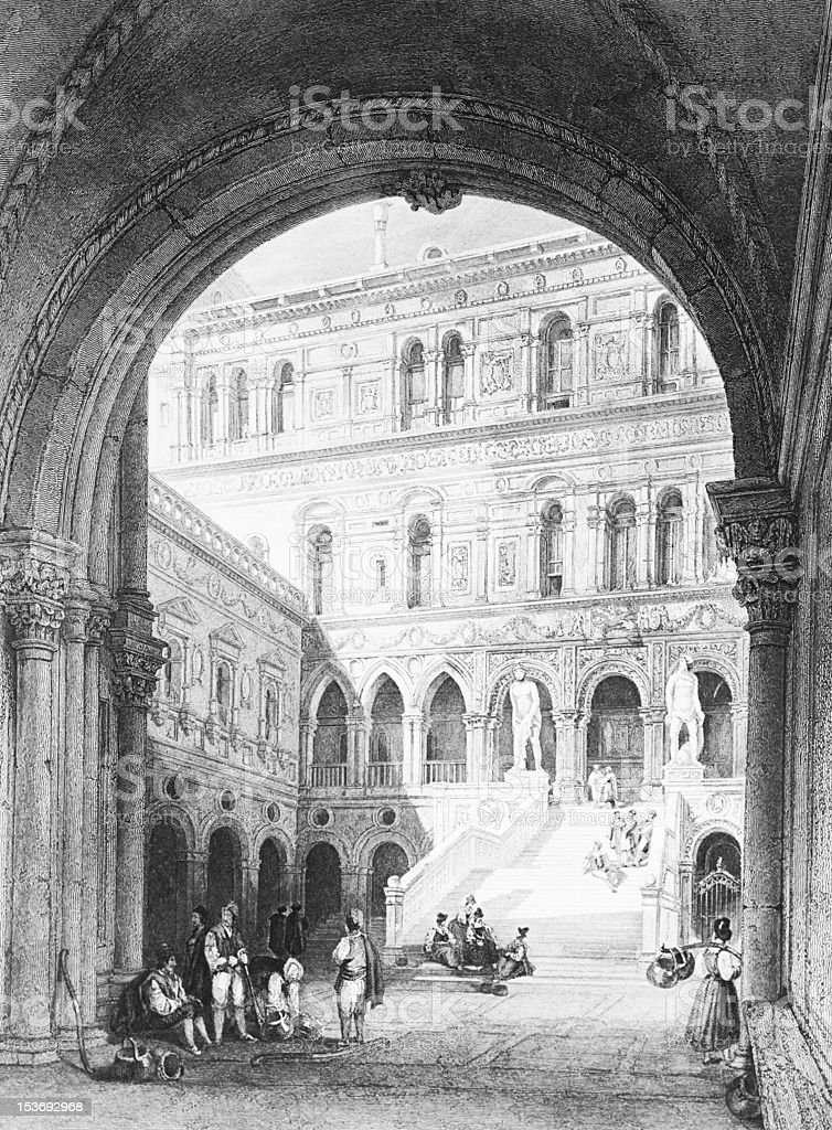 Italy: 1845 Engraving, Venice, Ducal Palace vector art illustration