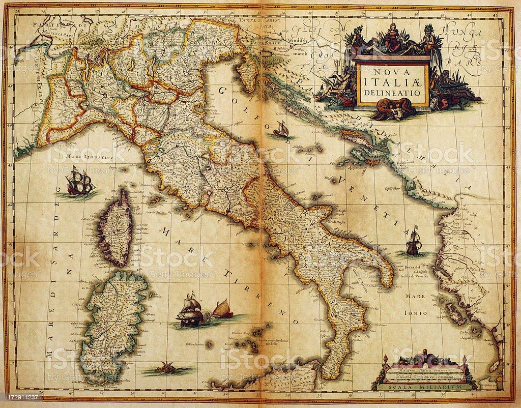 Italy Map 1635 vector art illustration
