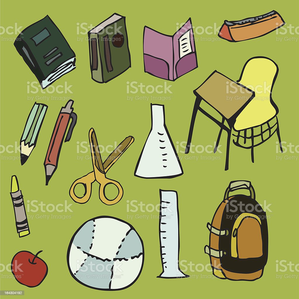 items from an elementary school kid's life royalty-free stock vector art