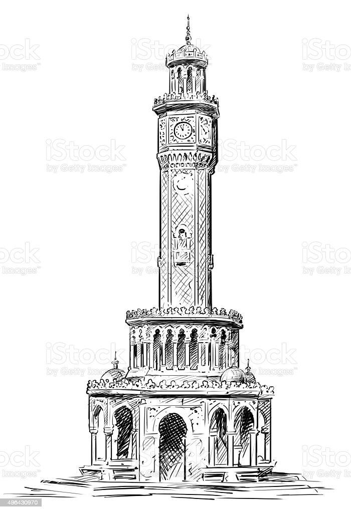 izmir clock tower vector art illustration