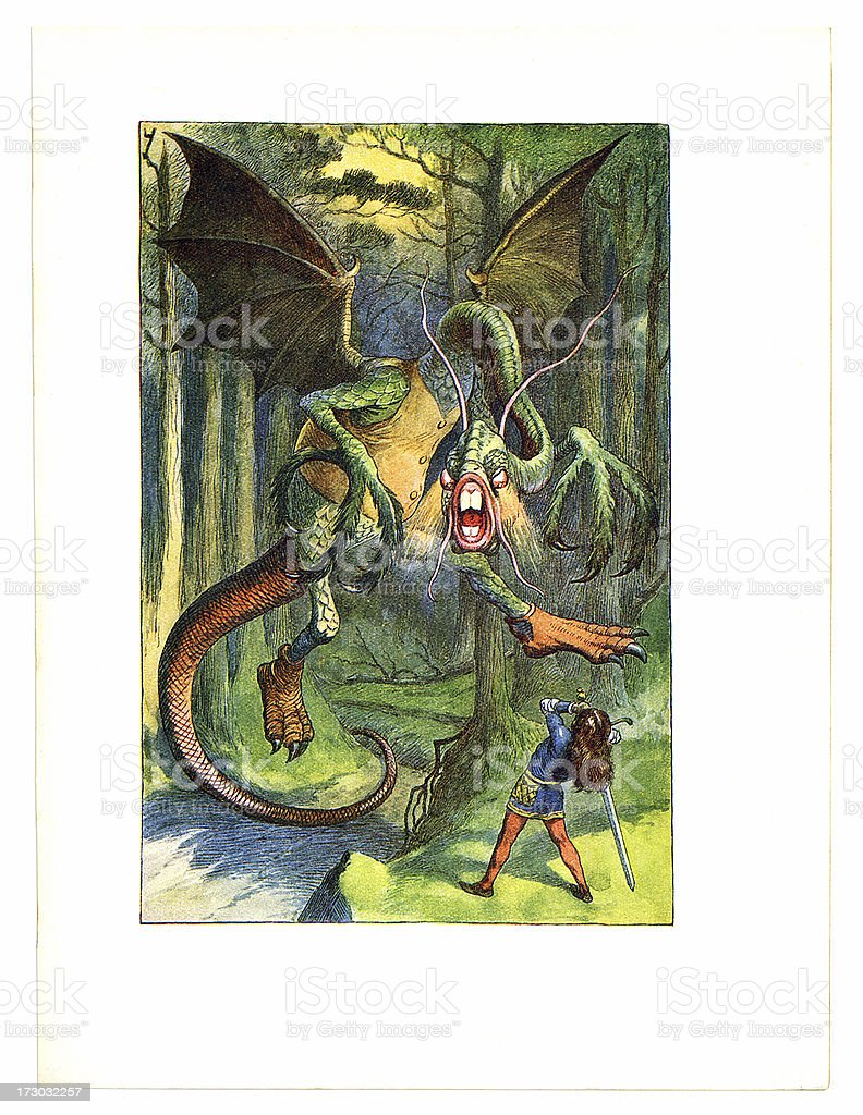 'Jabberwocky illustration, (Alice's Adventures in Wonderland)' vector art illustration