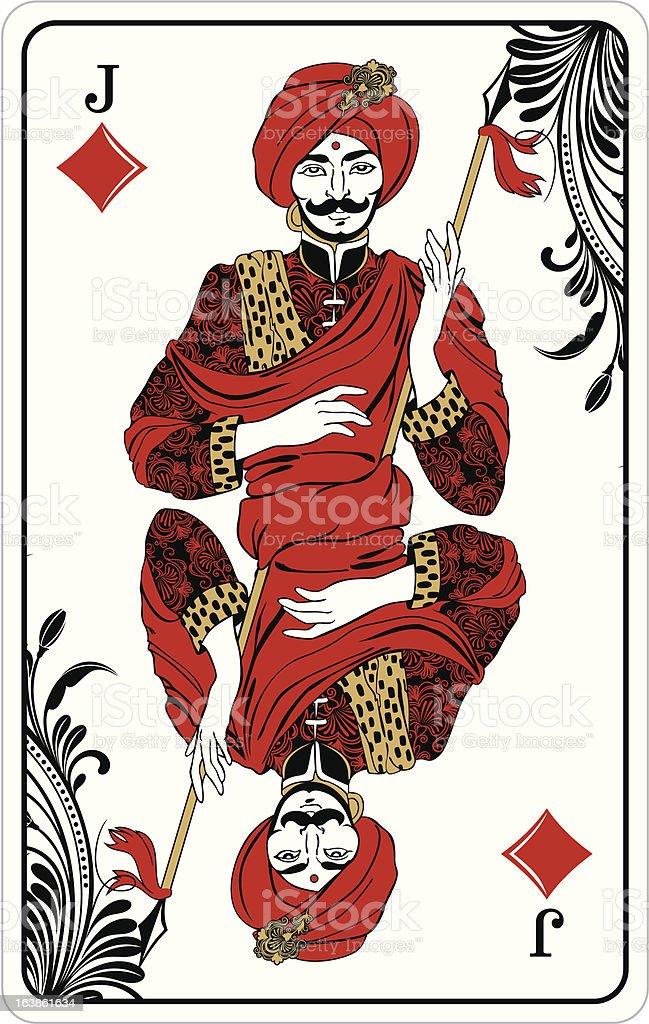 Jack of diamonds - playing card vector art illustration