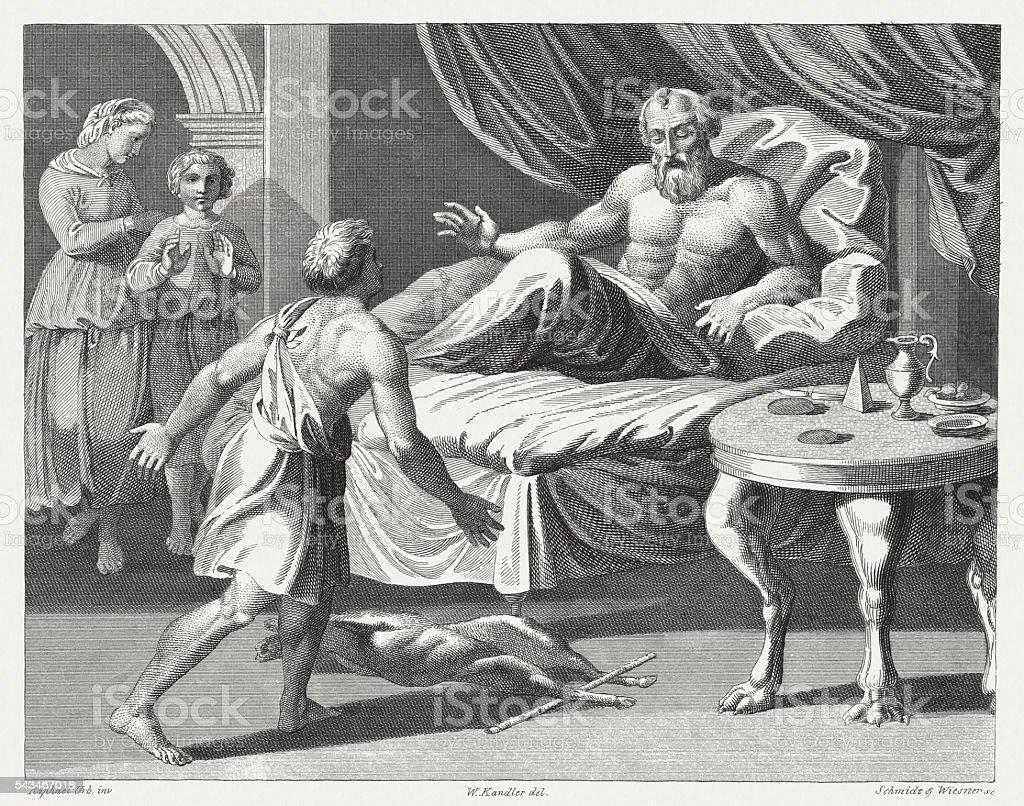 Jacob blessed Esau (Genesis 27), steel engraving, published in 1841 vector art illustration