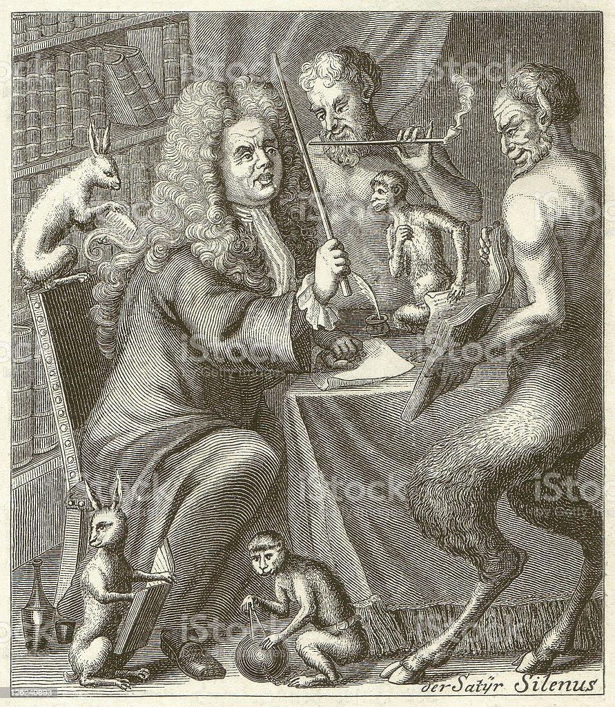Jacob Paul, Freiherr von Gundling (1673-1731), wood engraving, published 1881 vector art illustration