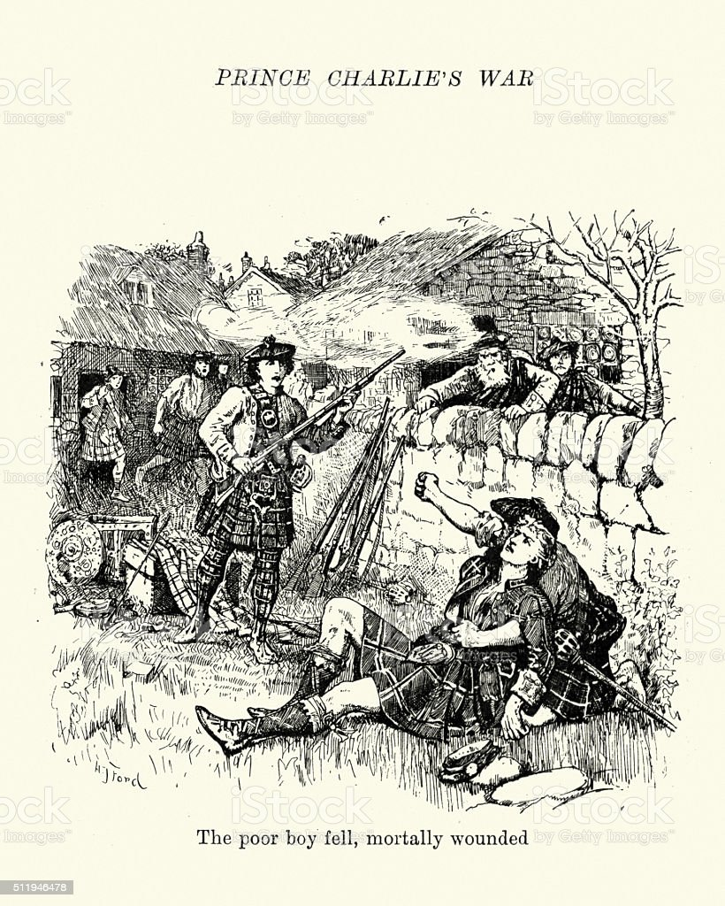 Jacobite rising of 1745 - The poor boy fell vector art illustration