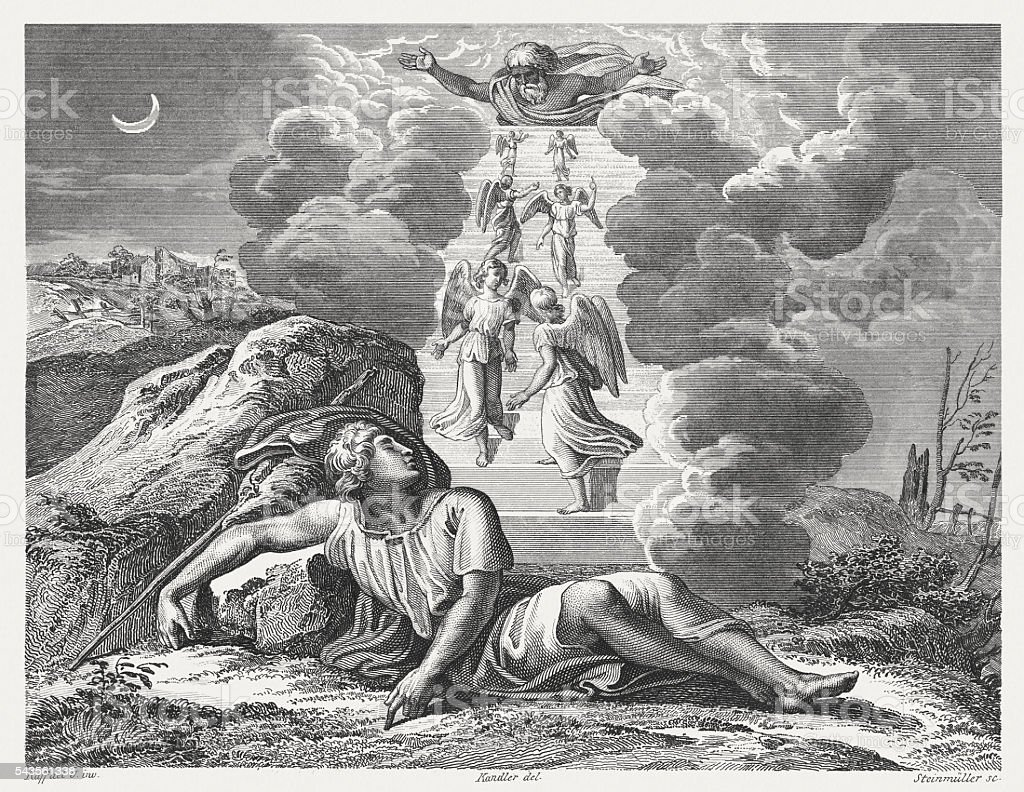 Jacob's Dream (Genesis 28), steel engraving, published in 1841 vector art illustration