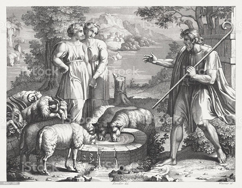 Jacob's Encounter with Rachel (Genesis 29), steel engraving, published 1841 vector art illustration