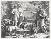 Jacob's Encounter with Rachel (Genesis 29), steel engraving, published 1841