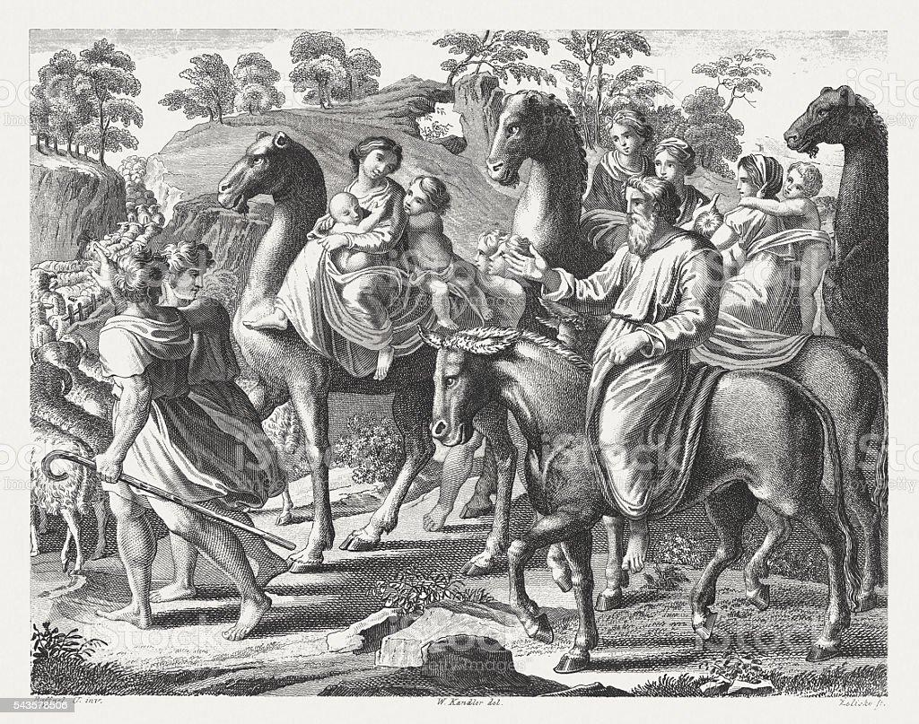 Jacob's Flight from Laban (Genesis 31), steel engraving, published 1841 vector art illustration