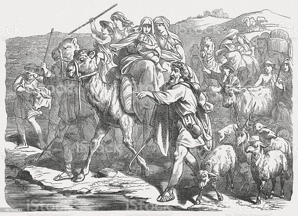 Jacob's Flight from Laban (Genesis 31), wood engraving, published 1877 vector art illustration