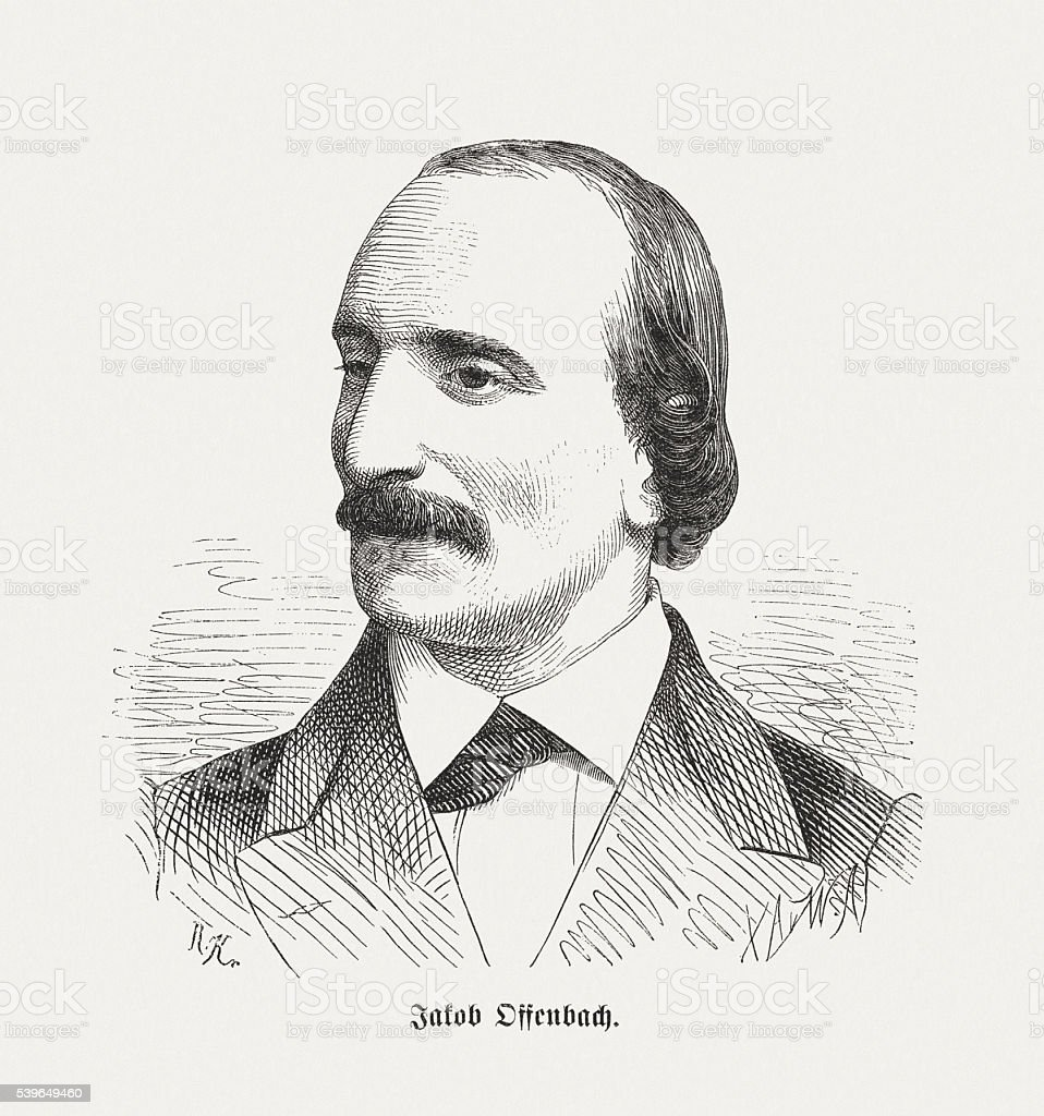 Jacques Offenbach, German-French composer, wood engraving, published in 1870 vector art illustration