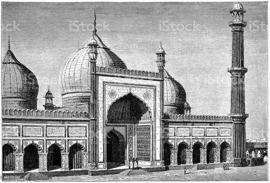 Jama Masjid mosque in Delhi vector art illustration