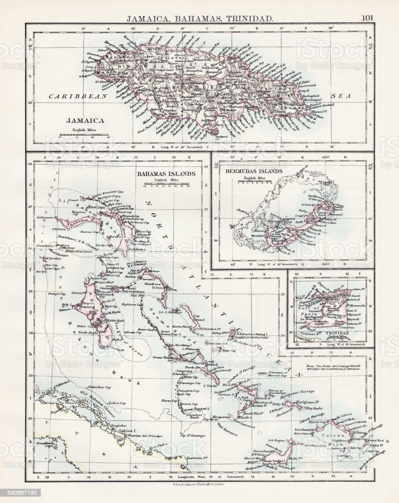 Jamaica Bahamas Trinidad map 1897 vector art illustration