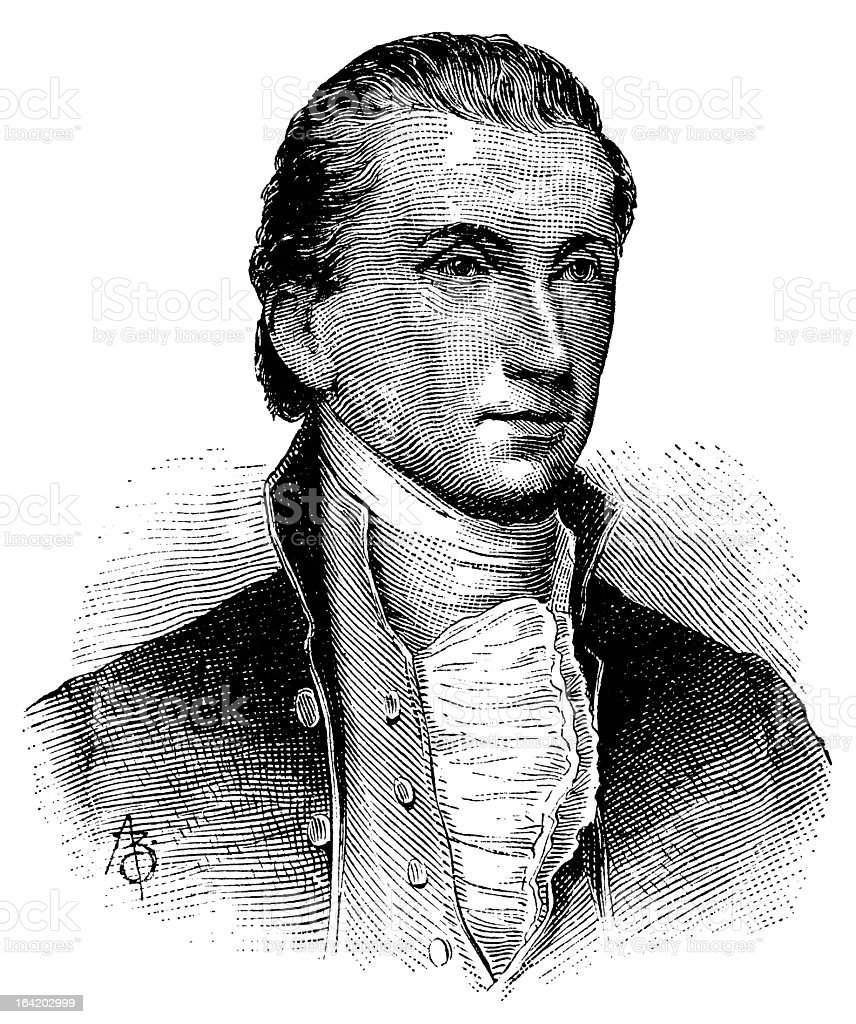 James Monroe - Antique Engraved Portrait vector art illustration