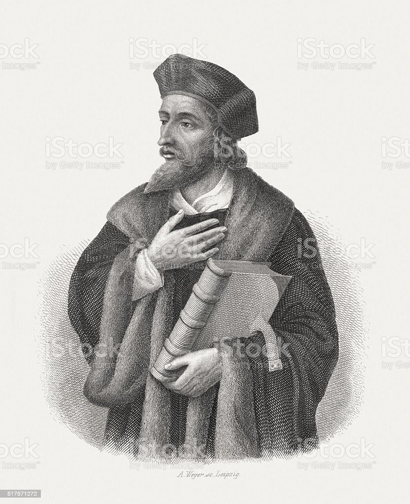 Jan Hus (c.1369-1415), Czech priest, steel engraving, published in 1868 vector art illustration