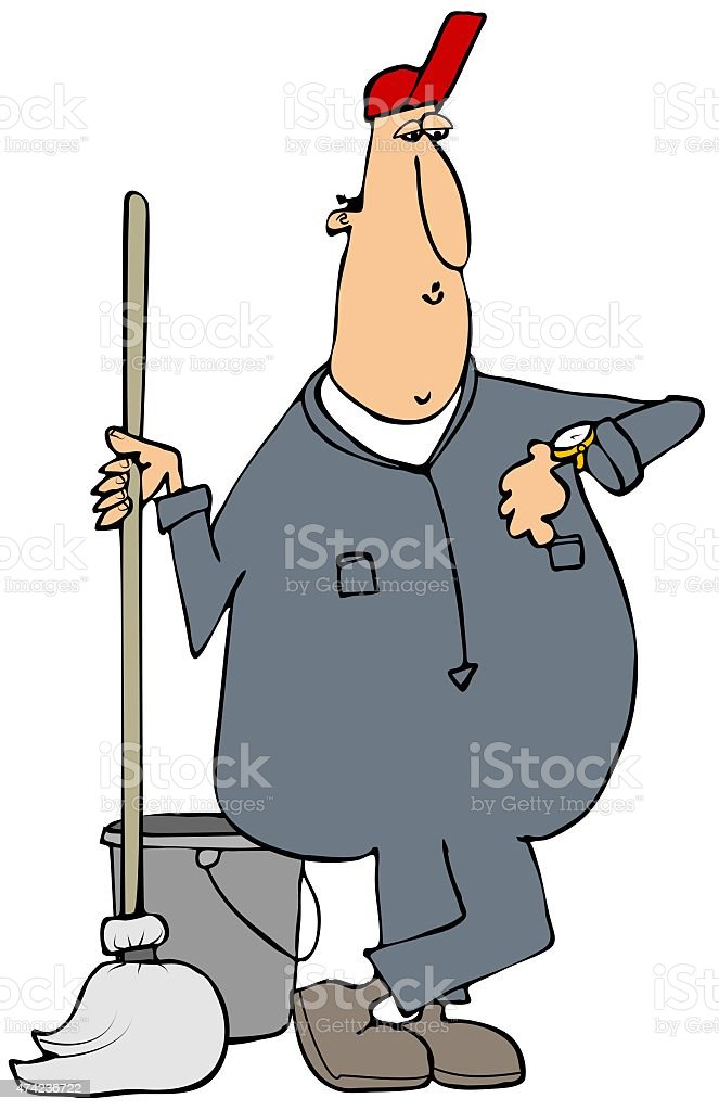 Janitor checking his watch vector art illustration