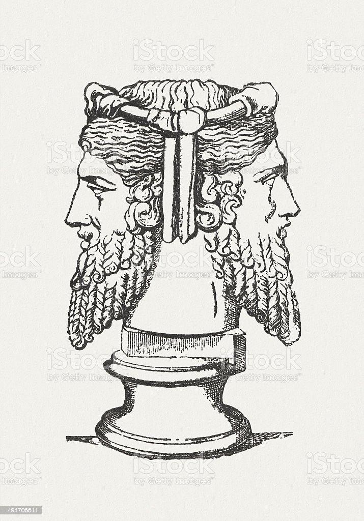 Janus, ancient roman god, wood engraving, published in 1881 vector art illustration