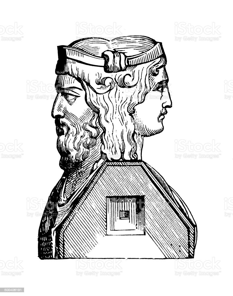Janus (antiqe engraving) vector art illustration
