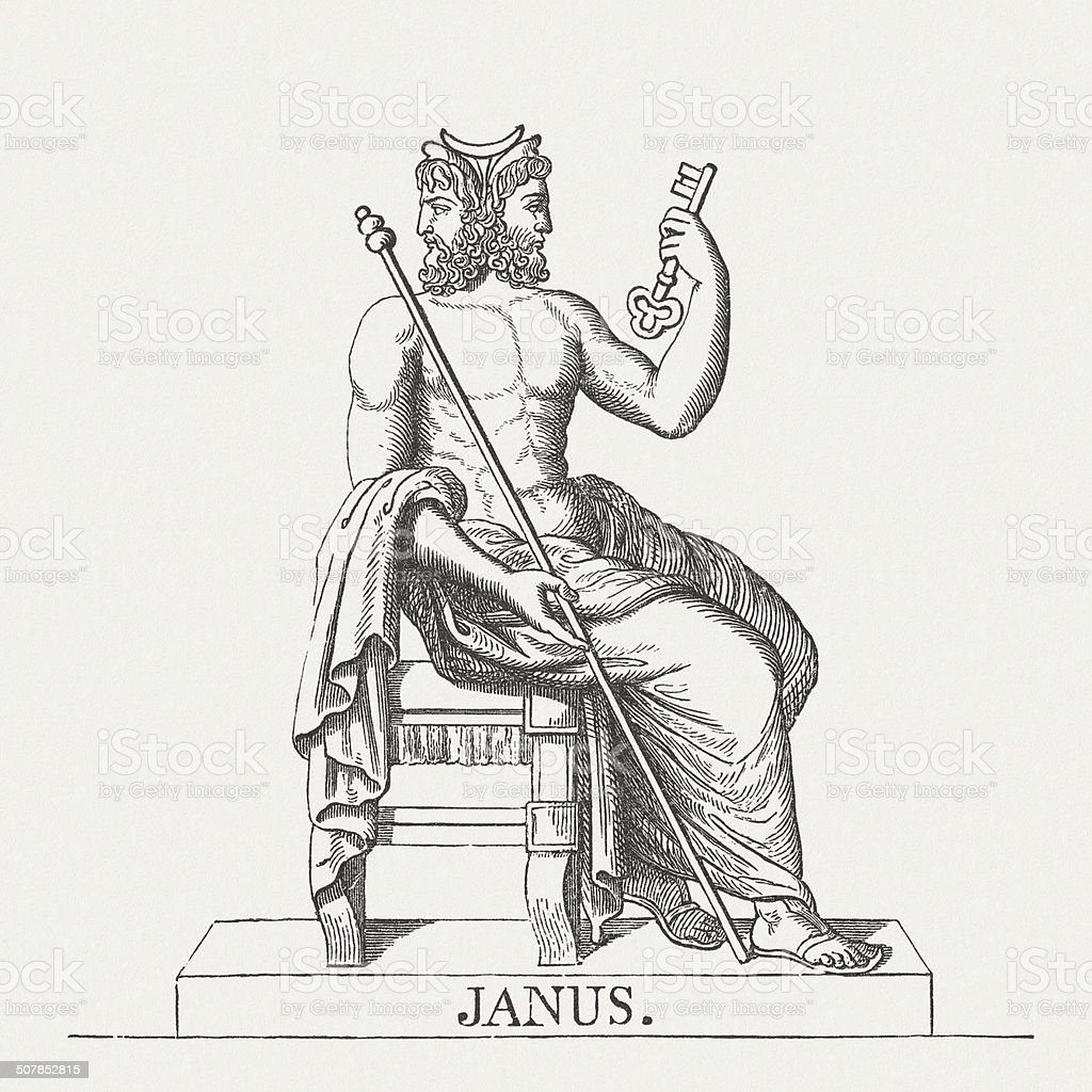 Janus, Roman god of beginnings and transitions, published in 1878 vector art illustration