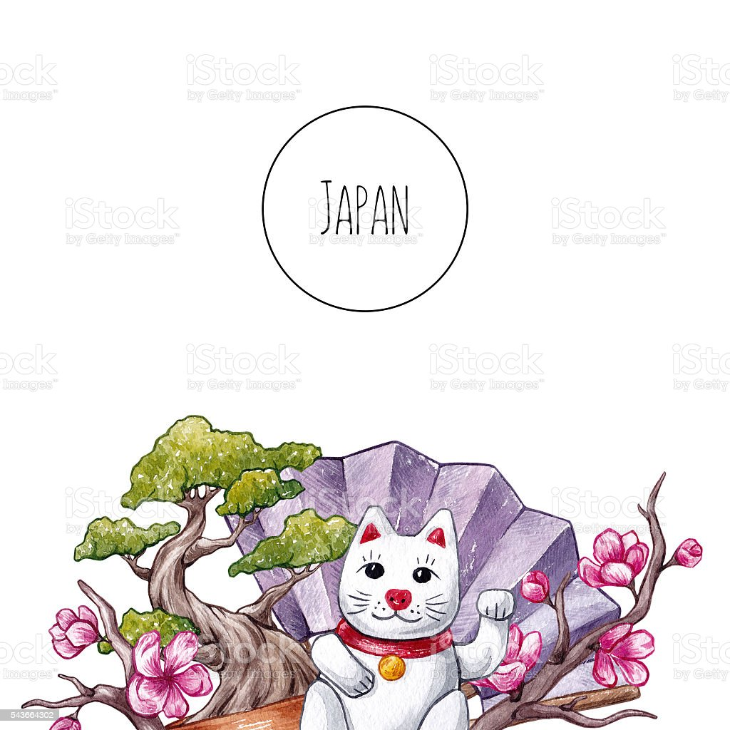 Japan. Hand drawn watercolor background. stock photo