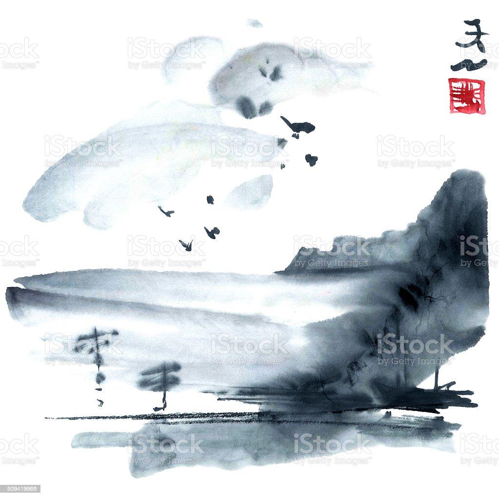 Japan landscape vector art illustration