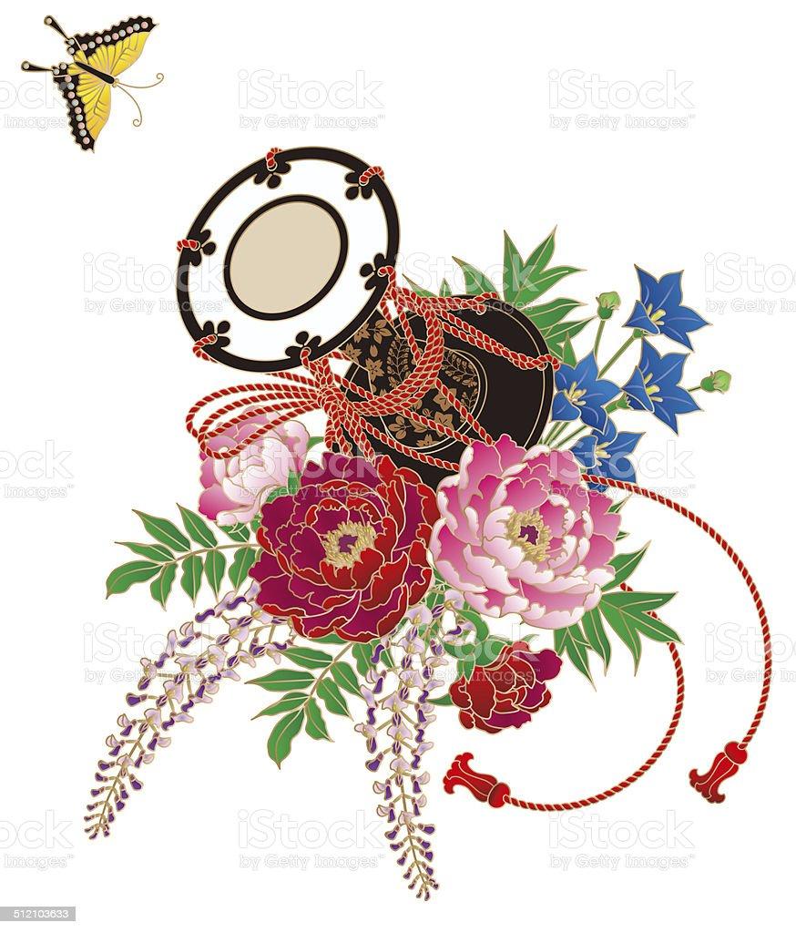 Japan style. Flowers. Taiko Japanese. Pattern of the kimono vector art illustration